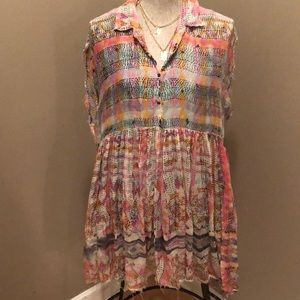 Free People pastel print tunic/dress. Sz Small
